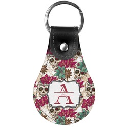 Sugar Skulls & Flowers Genuine Leather  Keychain (Personalized)