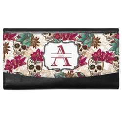 Sugar Skulls & Flowers Genuine Leather Ladies Wallet (Personalized)