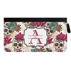 Sugar Skulls & Flowers Genuine Leather Ladies Zippered Wallet (Personalized)