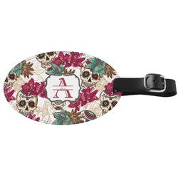 Sugar Skulls & Flowers Genuine Leather Oval Luggage Tag (Personalized)