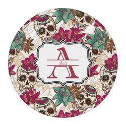 Sugar Skulls & Flowers Round Desk Weight - Genuine Leather  (Personalized)