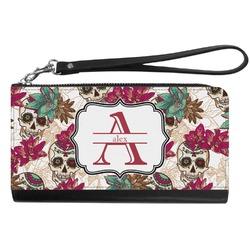 Sugar Skulls & Flowers Genuine Leather Smartphone Wrist Wallet (Personalized)