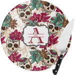 Sugar Skulls & Flowers Round Glass Cutting Board (Personalized)