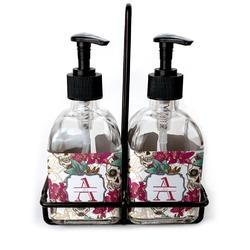 Sugar Skulls & Flowers Soap & Lotion Dispenser Set (Glass) (Personalized)