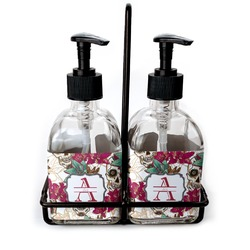 Sugar Skulls & Flowers Glass Soap & Lotion Bottles (Personalized)