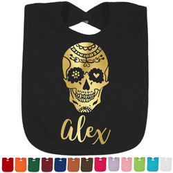 Sugar Skulls & Flowers Foil Toddler Bibs (Select Foil Color) (Personalized)