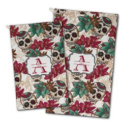 Sugar Skulls & Flowers Golf Towel - Full Print w/ Name and Initial