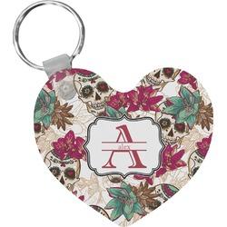 Sugar Skulls & Flowers Heart Plastic Keychain w/ Name and Initial