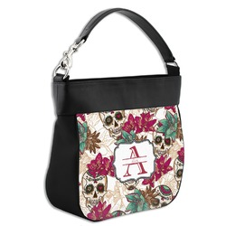Sugar Skulls & Flowers Hobo Purse w/ Genuine Leather Trim (Personalized)