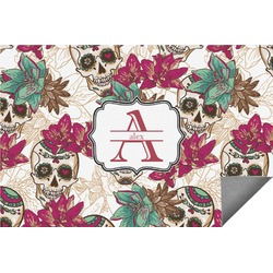 Sugar Skulls & Flowers Indoor / Outdoor Rug (Personalized)