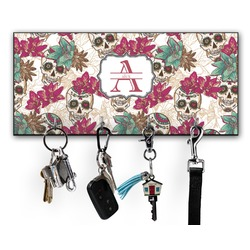 Sugar Skulls & Flowers Key Hanger w/ 4 Hooks (Personalized)