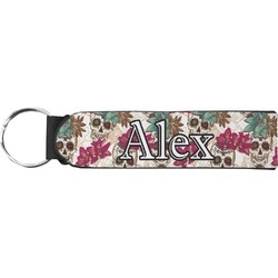 Sugar Skulls & Flowers Neoprene Keychain Fob (Personalized)