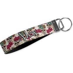 Sugar Skulls & Flowers Wristlet Webbing Keychain Fob (Personalized)
