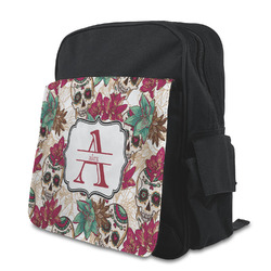 Sugar Skulls & Flowers Kid's Backpack with Customizable Flap (Personalized)