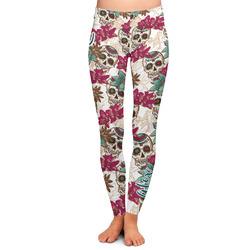 Sugar Skulls & Flowers Ladies Leggings - Medium (Personalized)