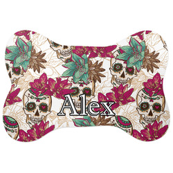 Sugar Skulls & Flowers Bone Shaped Dog Food Mat (Personalized)