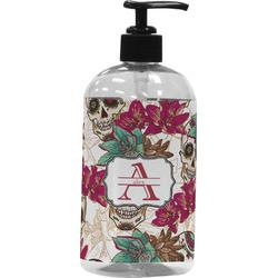 Sugar Skulls & Flowers Plastic Soap / Lotion Dispenser (16 oz - Large) (Personalized)