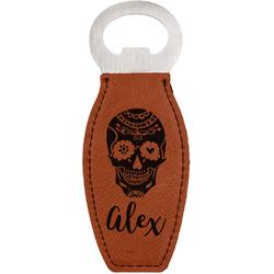 Sugar Skulls & Flowers Leatherette Bottle Opener (Personalized)