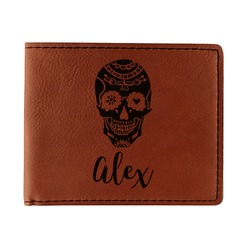 Sugar Skulls & Flowers Leatherette Bifold Wallet - Double Sided (Personalized)