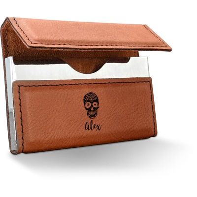 Sugar Skulls & Flowers Leatherette Business Card Holder (Personalized)