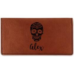 Sugar Skulls & Flowers Leatherette Checkbook Holder (Personalized)