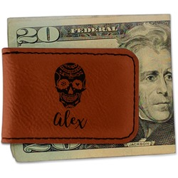 Sugar Skulls & Flowers Leatherette Magnetic Money Clip (Personalized)