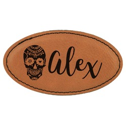 Sugar Skulls & Flowers Leatherette Oval Name Badge with Magnet (Personalized)