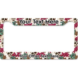 Sugar Skulls & Flowers License Plate Frame (Personalized)