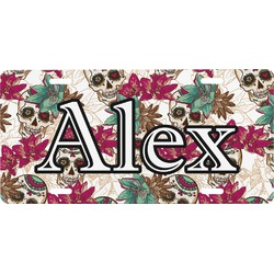 Sugar Skulls & Flowers Front License Plate (Personalized)