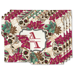 Sugar Skulls & Flowers Linen Placemat w/ Name and Initial