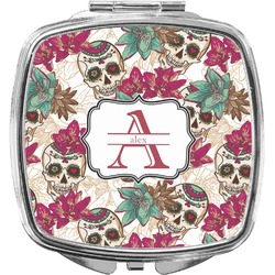 Sugar Skulls & Flowers Compact Makeup Mirror (Personalized)