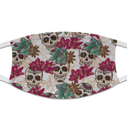 Sugar Skulls & Flowers Cloth Face Mask (T-Shirt Fabric) (Personalized)