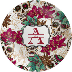 Sugar Skulls & Flowers Melamine Plate (Personalized)