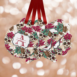 Sugar Skulls & Flowers Metal Ornaments - Double Sided w/ Name and Initial