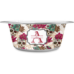 Sugar Skulls & Flowers Stainless Steel Dog Bowl (Personalized)