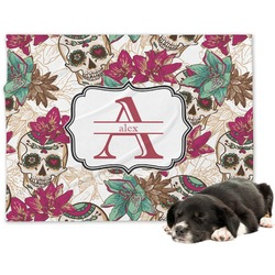 Sugar Skulls & Flowers Minky Dog Blanket - Large  (Personalized)