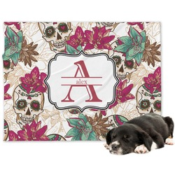 Sugar Skulls & Flowers Minky Dog Blanket (Personalized)