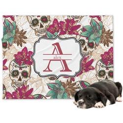 Sugar Skulls & Flowers Dog Blanket (Personalized)