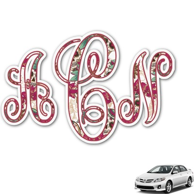 Sugar Skulls & Flowers Monogram Car Decal (Personalized)