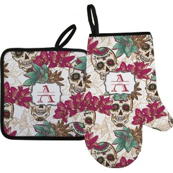 Sugar Skulls & Flowers Oven Mitt & Pot Holder Set w/ Name and Initial