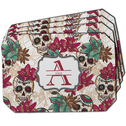 Sugar Skulls & Flowers Dining Table Mat - Octagon w/ Name and Initial