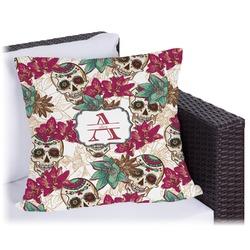 Sugar Skulls & Flowers Outdoor Pillow (Personalized)