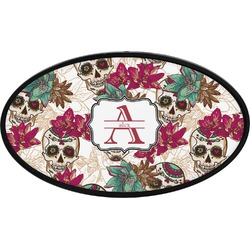 Sugar Skulls & Flowers Oval Trailer Hitch Cover (Personalized)