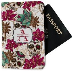 Sugar Skulls & Flowers Passport Holder - Fabric (Personalized)