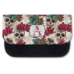 Sugar Skulls & Flowers Canvas Pencil Case w/ Name and Initial
