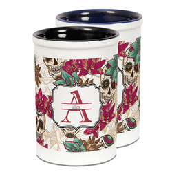 Sugar Skulls & Flowers Ceramic Pencil Holder - Large