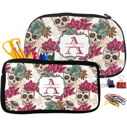 Sugar Skulls & Flowers Pencil / School Supplies Bag (Personalized)