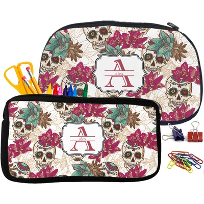 Sugar Skulls & Flowers Pencil / School Supplies Bag (Personalized)