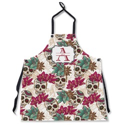 Sugar Skulls & Flowers Apron Without Pockets w/ Name and Initial
