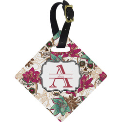 Sugar Skulls & Flowers Diamond Luggage Tag (Personalized)